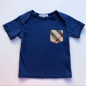 BURBERRY Children Kids Blue Pocket Check Top Shirt